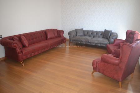 Erayman ailesinin bordo ve antrasit kombini olan chester koltuk takımı (1)