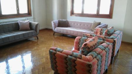 - Alzehoomar ailesinin renkli oturma odası seçimi