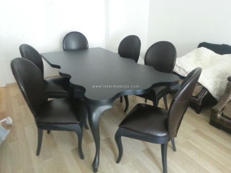 Kıroğlu ailesinin düğmeli l koltuk takımı ve mat siyah yemek masası (1)