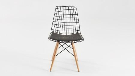 Yıldız Siyah Ahşap Ayaklı Metal Sandalye