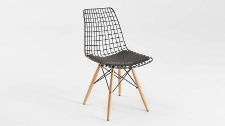 Yıldız Siyah Ahşap Ayaklı Metal Sandalye (1)