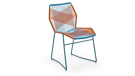 Sekizgen Turuncu-Mavi Örgülü Kırmızı Metal Sandalye