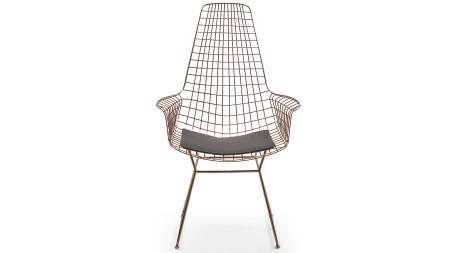 Uzun Zira U Ayaklı Bakır Kaplamalı Metal Sandalye (1)