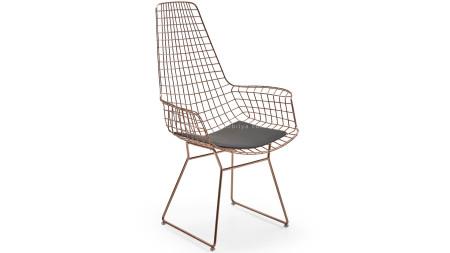 Uzun Zira U Ayaklı Bakır Kaplamalı Metal Sandalye