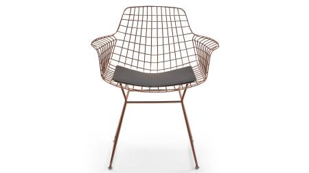 Çamlıca - Zira U Ayaklı Bakır Kaplamalı Metal Sandalye (1)