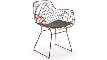 Çamlıca - Zira U Ayaklı Bakır Kaplamalı Metal Sandalye