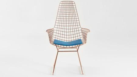 Uzun Zira U Ayaklı Bakır Kaplamalı Mavi Döşemeli Metal Sandalye (1)