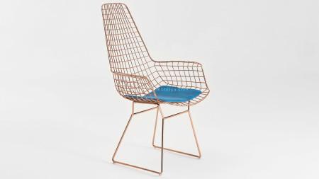 Uzun Zira U Ayaklı Bakır Kaplamalı Mavi Döşemeli Metal Sandalye