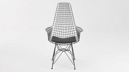 Uzun Zira Piramit Ayaklı Siyah Metal Sandalye (1)