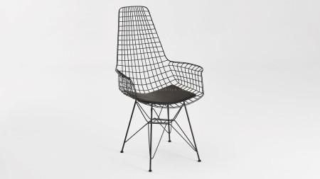 Uzun Zira Piramit Ayaklı Siyah Metal Sandalye