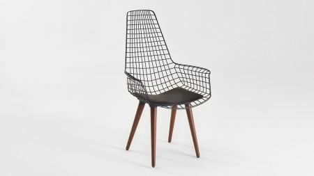 Uzun Zira Ahşap Ayaklı Siyah Metal Sandalye