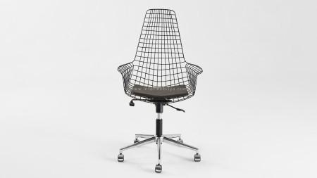 Uzun Zira Siyah Metal Ofis Sandalyesi (1)