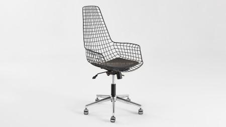 Uzun Zira Siyah Metal Ofis Sandalyesi
