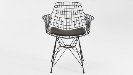 Zira Piramit Ayaklı Siyah Metal Sandalye (1)