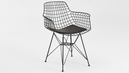Zira Piramit Ayaklı Siyah Metal Sandalye