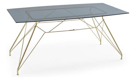 Çamlıca - Bat Altın Sarısı Kaplamalı Metal Ayaklı Yemek Masası
