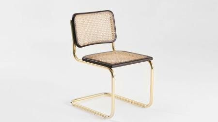 Haziranlı Altın Kaplamalı Kolsuz Metal Sandalye