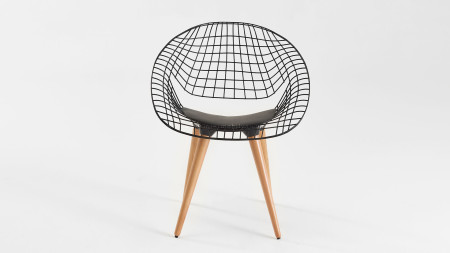 Hilal Ahşap Ayaklı Siyah Renk Metal Sandalye (1)