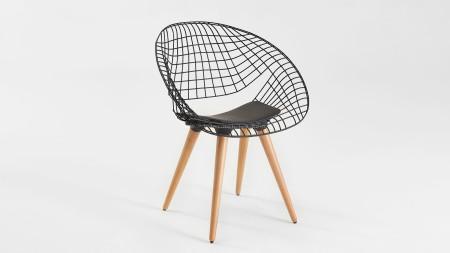 Hilal Ahşap Ayaklı Siyah Renk Metal Sandalye