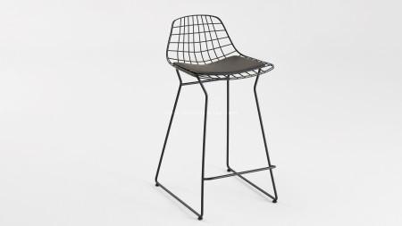 Tel U Ayaklı Siyah Renk Metal Bar Sandalyesi