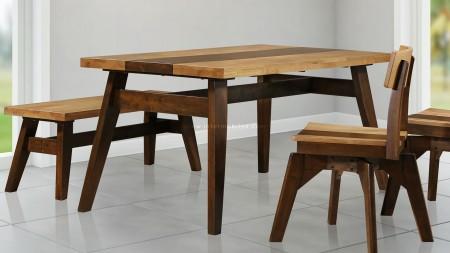 Timber Masif Ceviz Kaplama Masa Sandalye Takımı (1)